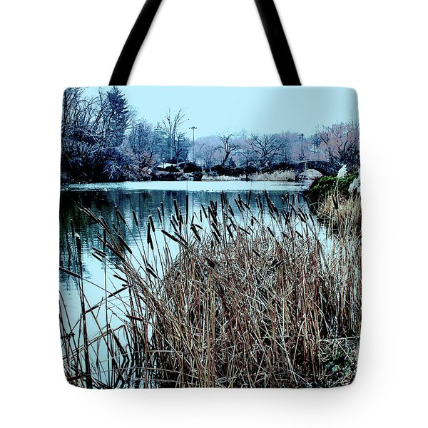 Cattails On The Water Tote Bag by Sandy Moulder