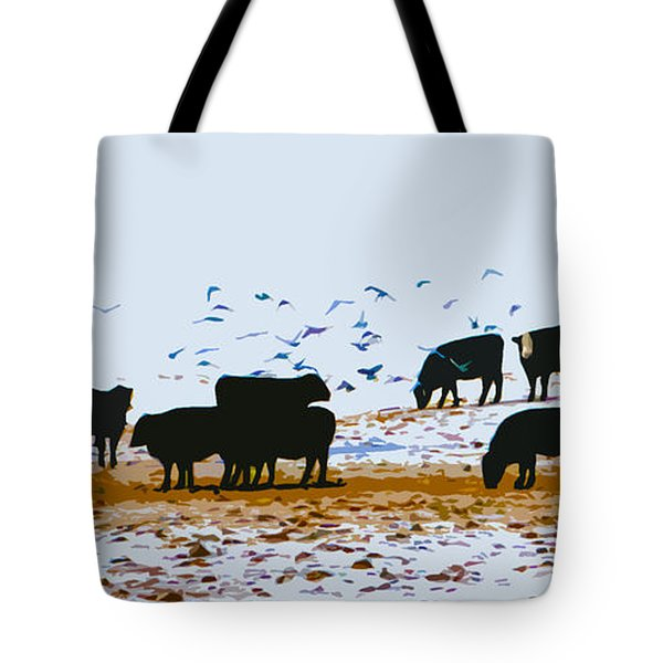 Cattle And Birds Tote Bag