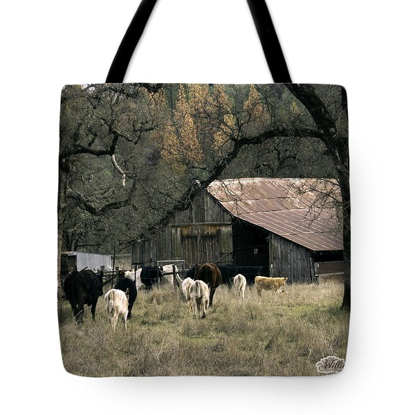 Cattle At Mccourtney Barn Tote Bag