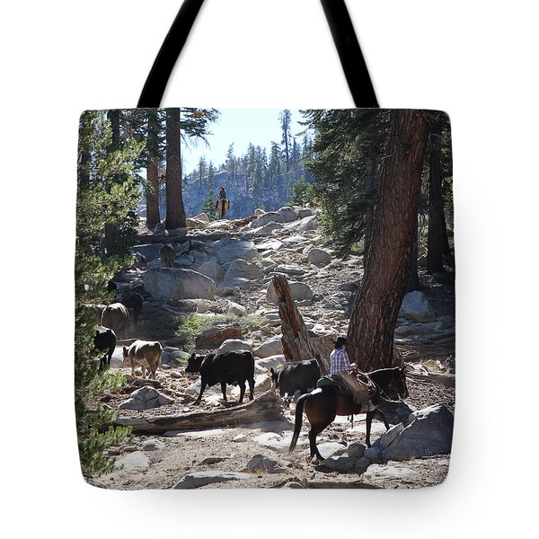 Cattle Climbing Tote Bag