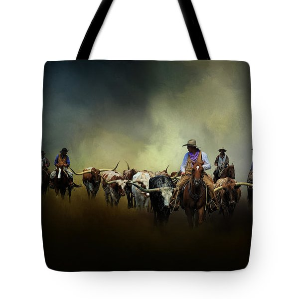 Cattle Drive At Dawn Tote Bag