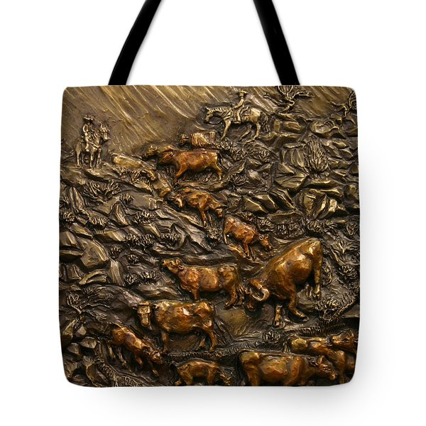 Tote Bag featuring the sculpture Cattle Drive by Dawn Senior-Trask