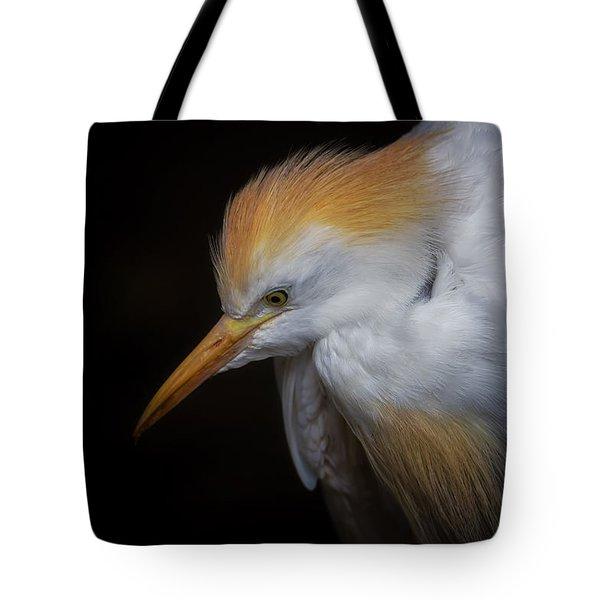 Cattle Egret Closeup Portrait Tote Bag by David Gn
