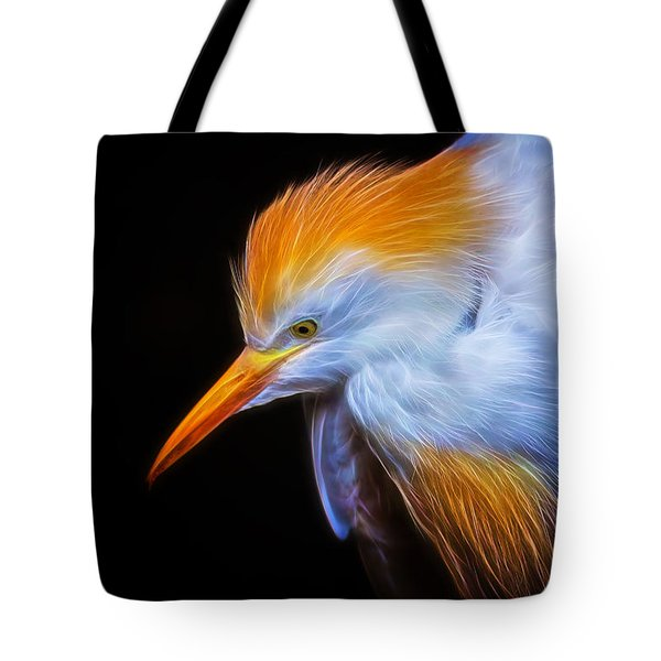 Cattle Egret Electrified Tote Bag by David Gn