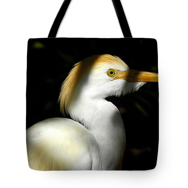 Cattle Egret In Shadow Tote Bag