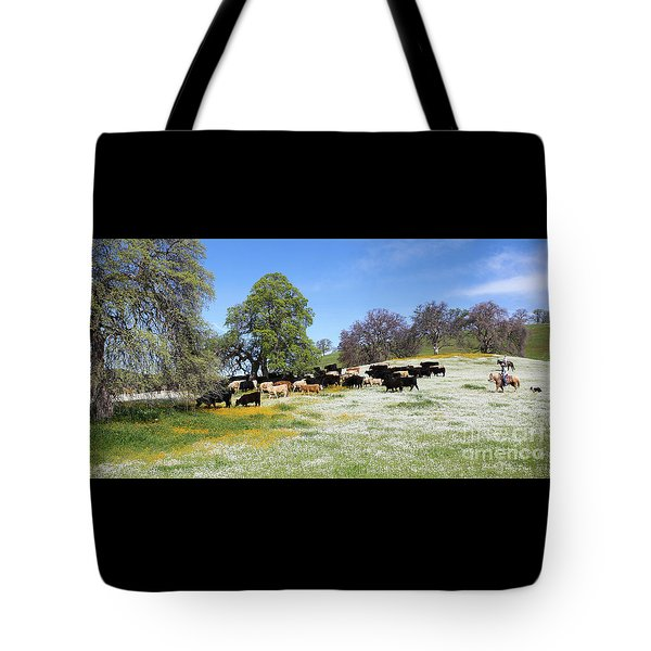Cattle N Flowers Tote Bag by Diane Bohna