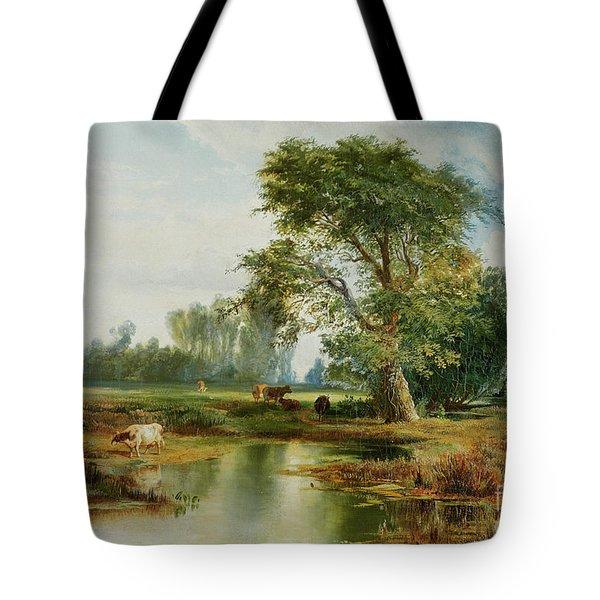 Cattle Watering Tote Bag