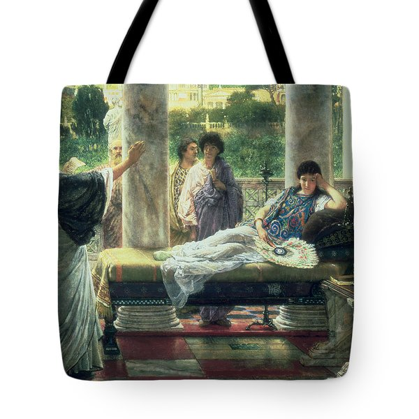 Catullus Reading His Poems Tote Bag by Sir Lawrence Alma Tadema