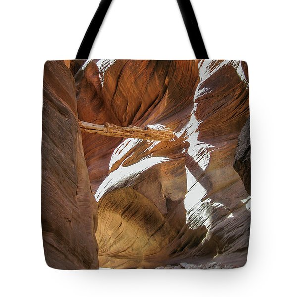 Tote Bag featuring the photograph Caught In A Slot by Gaelyn Olmsted