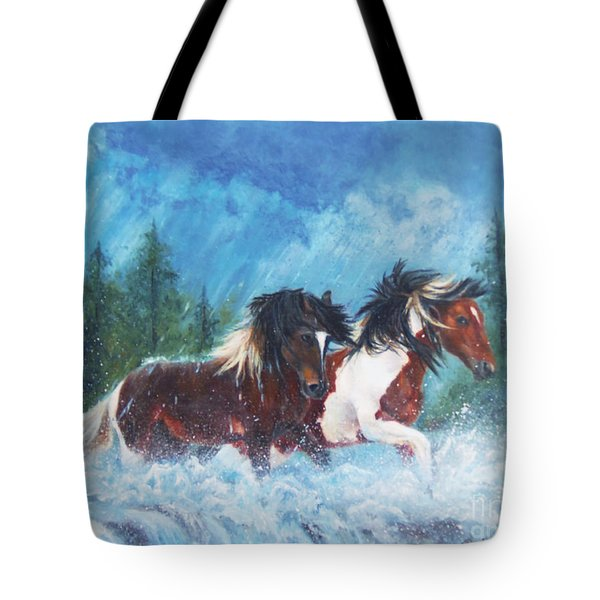Tote Bag featuring the painting Caught In The Rain  by Karen Kennedy Chatham