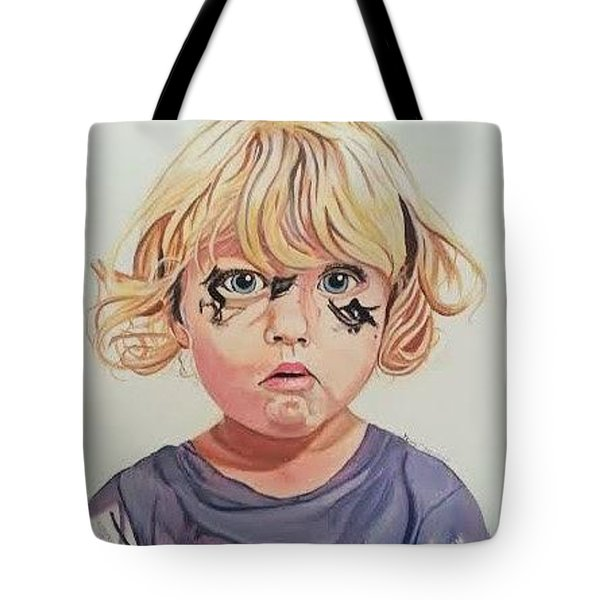Tote Bag featuring the painting Caught With A Makeup-mess-mila by Kevin F Heuman