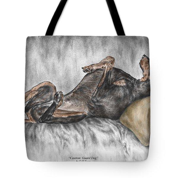 Caution Guard Dog - Doberman Pinscher Print Color Tinted Tote Bag