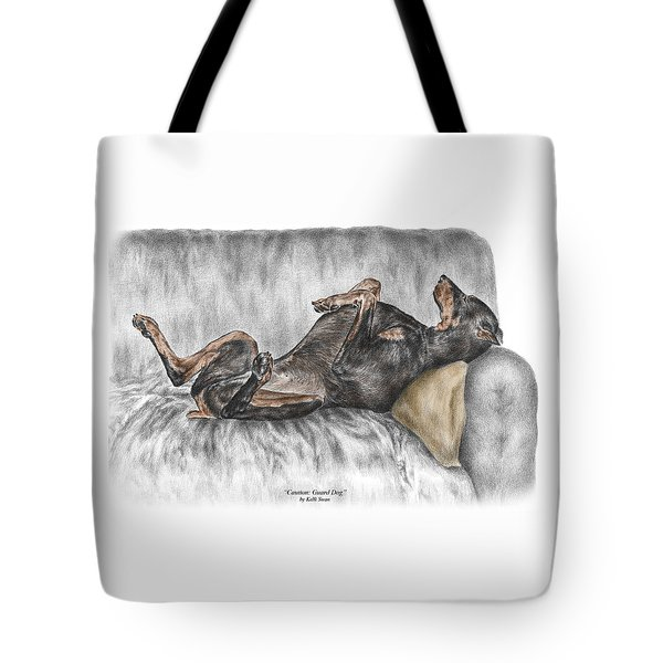 Caution Guard Dog - Doberman Pinscher Print Color Tinted Tote Bag