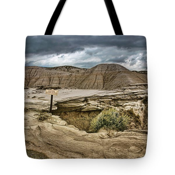 Caution - Steep Cliffs - Toadstool Geologic Park Tote Bag
