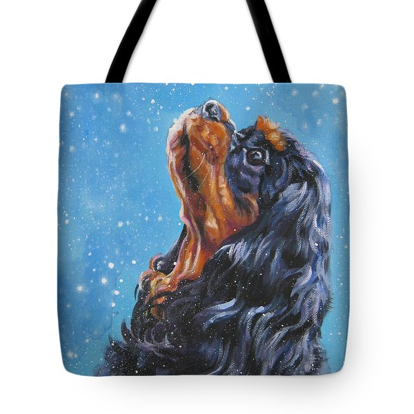 Cavalier King Charles Spaniel Black And Tan In Snow Tote Bag
