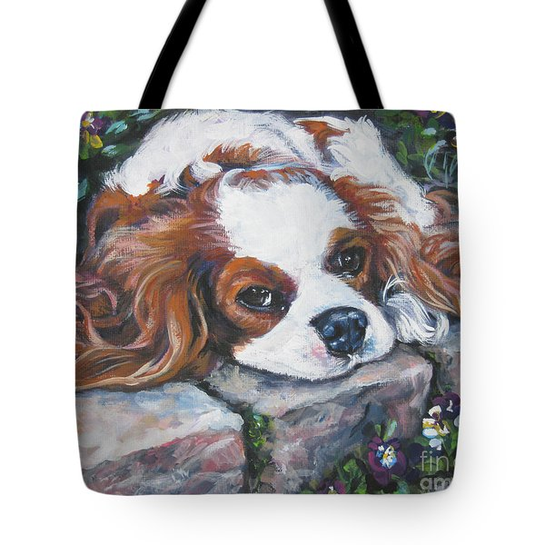 Cavalier King Charles Spaniel In The Pansies  Tote Bag