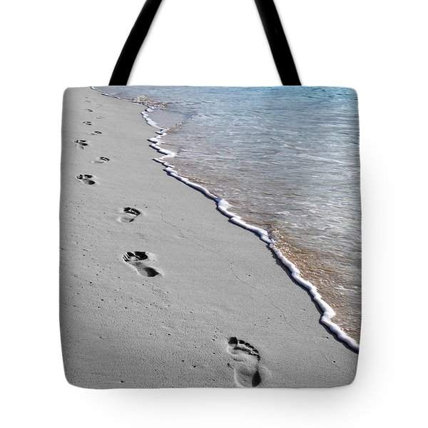 Tote Bag featuring the digital art Cayman Footprints Color Splash Black And White by Shawn O'Brien