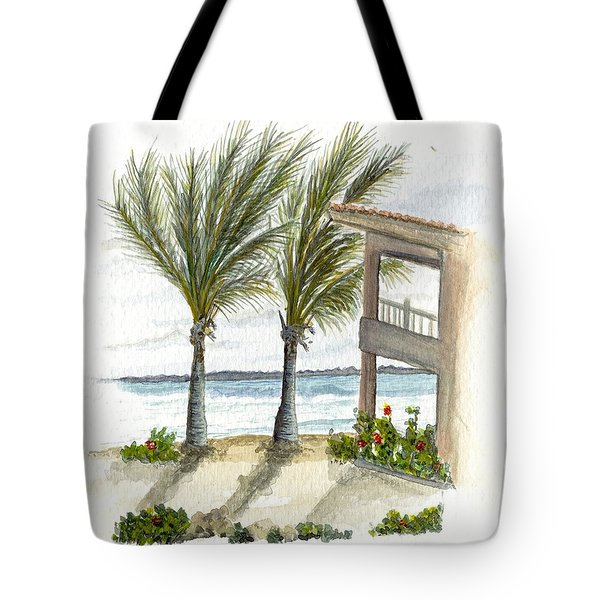 Tote Bag featuring the digital art Cayman Hotel by Darren Cannell