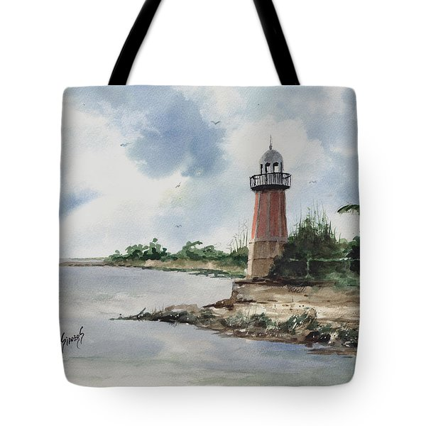 Tote Bag featuring the painting Cayman Lighthouse by Sam Sidders
