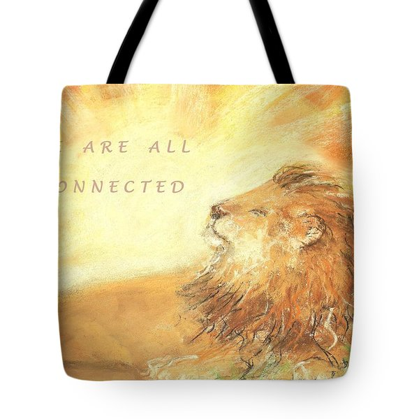 Tote Bag featuring the drawing Cecil The Lion by Denise Fulmer