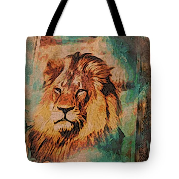 Tote Bag featuring the digital art Cecil The Lion by Kathy Kelly