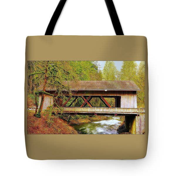 Cedar Creek Grist Mill Covered Bridge Tote Bag by Steve Warnstaff