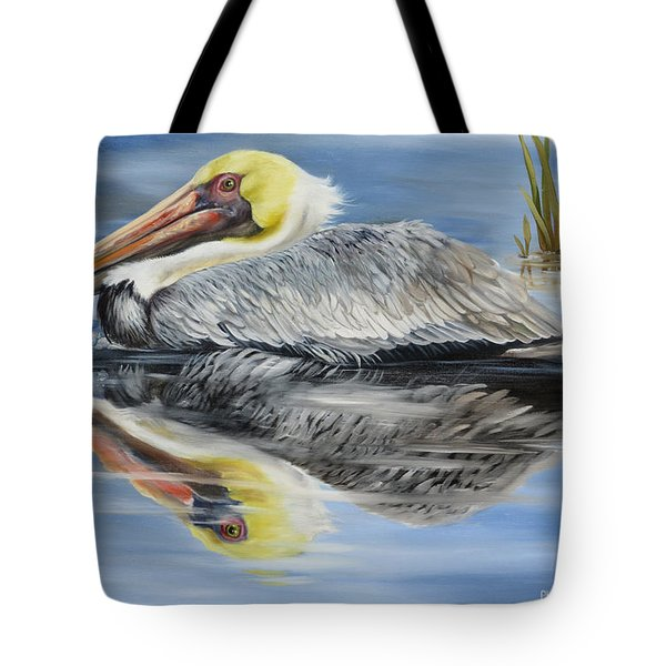 Tote Bag featuring the painting Cedar Point Pelican 2 by Phyllis Beiser