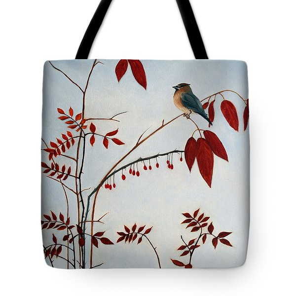 Cedar Waxwing Tote Bag by Laura Tasheiko