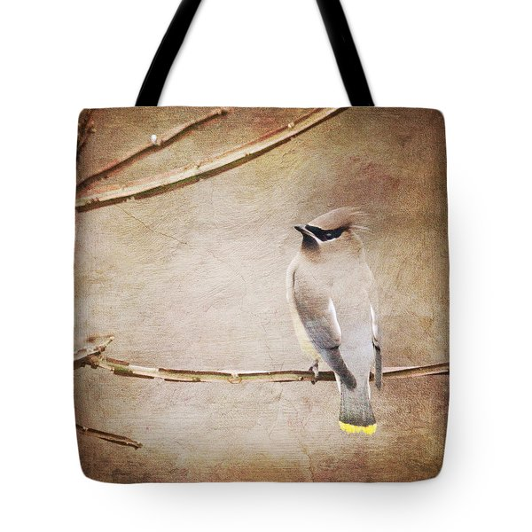 Cedar Waxwing Painting Effect Tote Bag