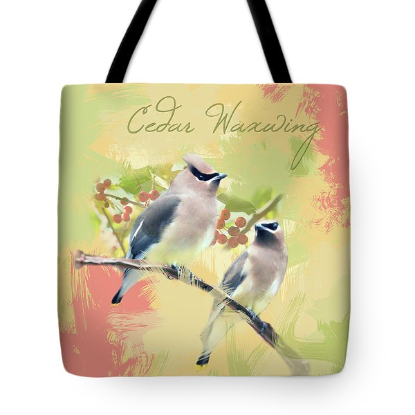 Tote Bag featuring the photograph Cedar Waxwing Watercolor Photo by Heidi Hermes
