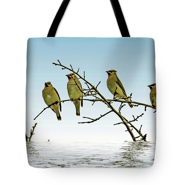 Cedar Waxwings On A Branch Tote Bag by Geraldine Scull
