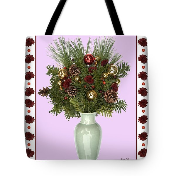 Celadon Vase With Christmas Bouquet Tote Bag