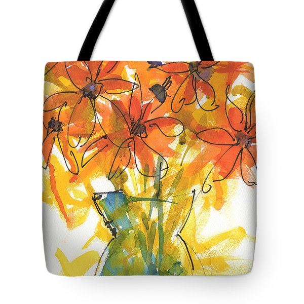 Celebration Of Sunflowers Watercolor Painting By Kmcelwaine Tote Bag