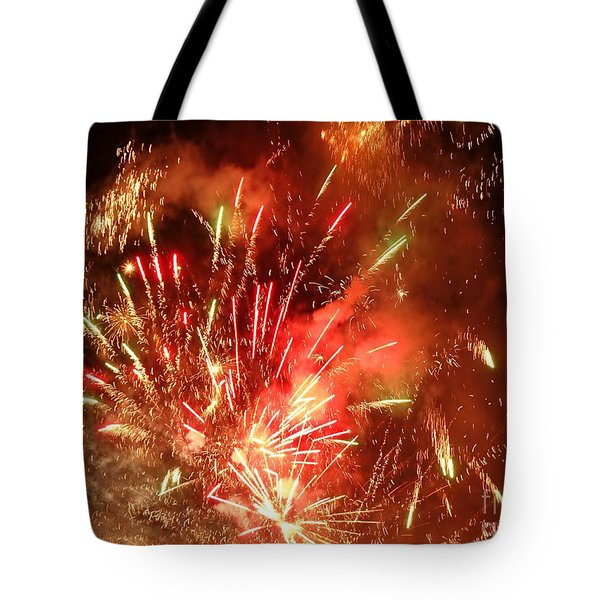 Celebratory Fireworks And Firecrackers Light Up The Sky Tote Bag by Yali Shi