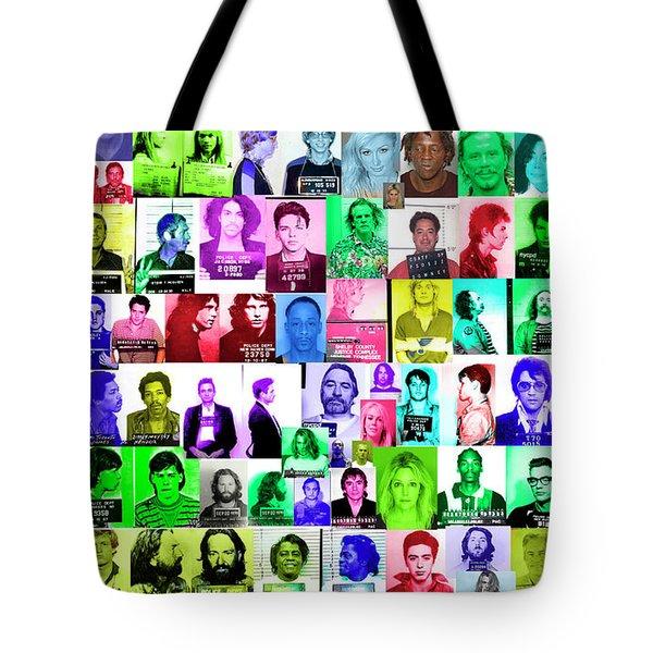 Celebrity Mugshots Tote Bag by Jon Neidert
