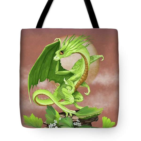 Tote Bag featuring the digital art Celery Dragon by Stanley Morrison