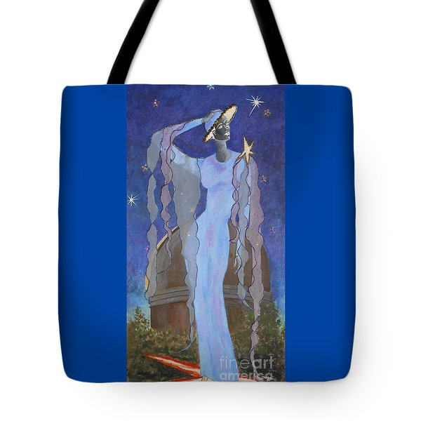 Celestial Bodies -- Fashion Collage Portrait W/ Fabric And Crystals Tote Bag