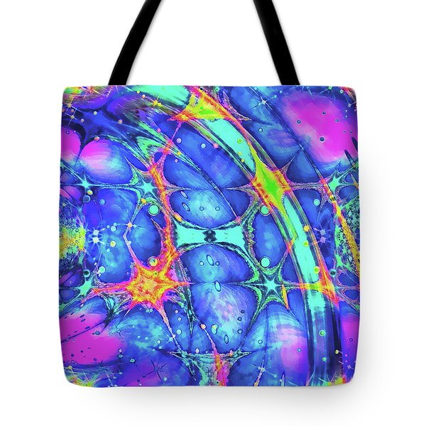Tote Bag featuring the digital art Celestial Burst by Wendy J St Christopher
