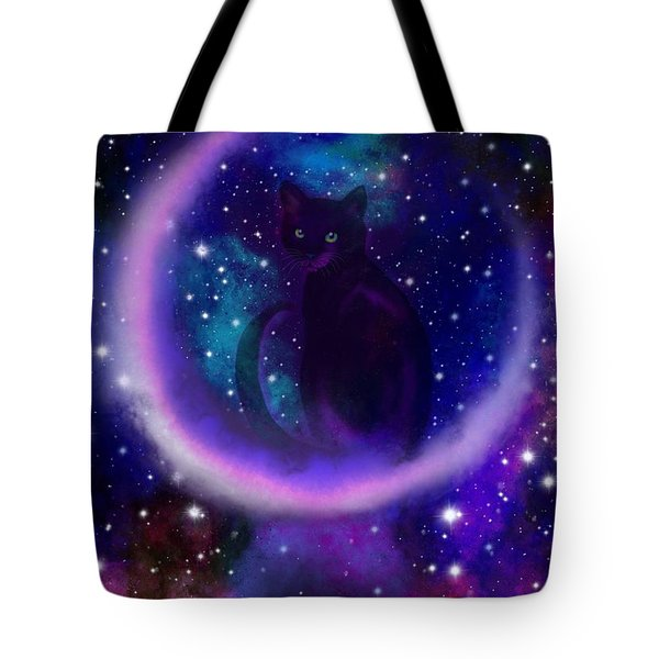 Celestial Crescent Moon Cat  Tote Bag