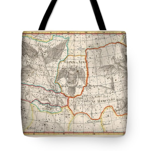 Celestial Map - Map Of The Constellations - Cygnus, Hercules, Lyra - Astronomical Chart Tote Bag