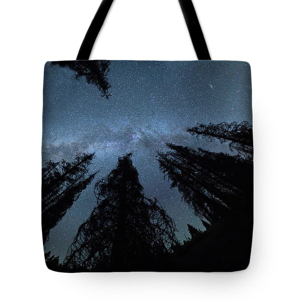 Tote Bag featuring the photograph Celestial Starlight In The Forest Near  Lake Irene Colorado by OLena Art Brand