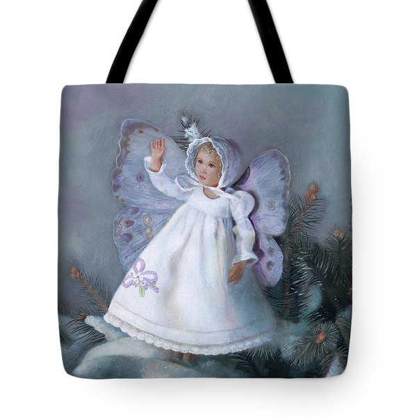Tote Bag featuring the painting Celestine Snow Fairy by Nancy Lee Moran
