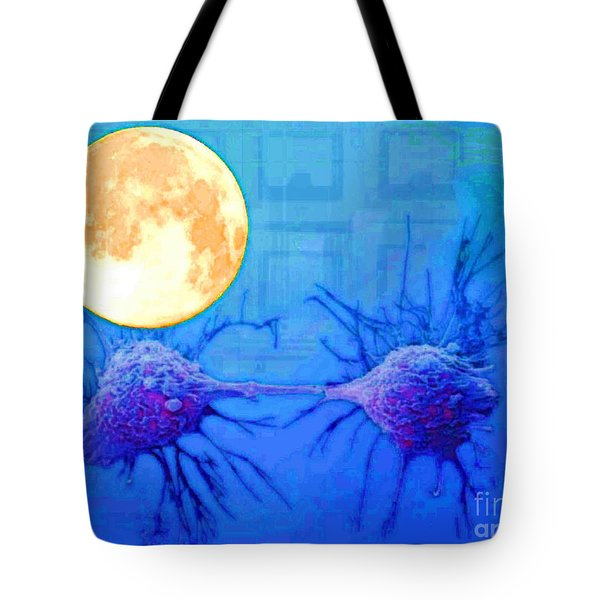 Cell Division Under Full Moon Tote Bag by Mojo Mendiola