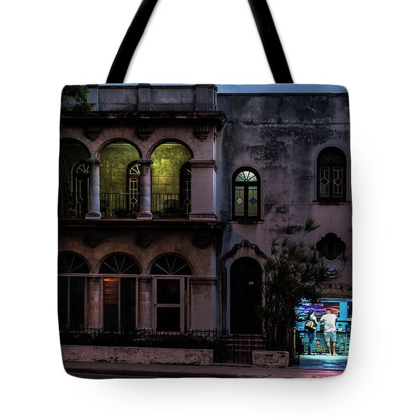 Tote Bag featuring the photograph Cell Phone Shop Havana Cuba by Charles Harden