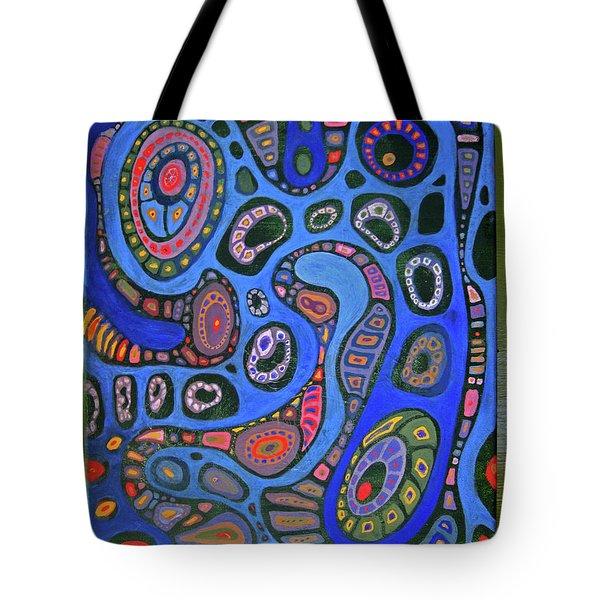 Cellular Fantasy In Blue Tote Bag by Anne Havard