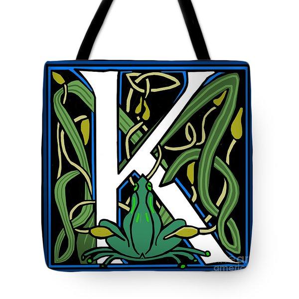 Celt Frog Letter K Tote Bag