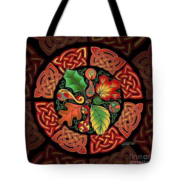 Celtic Autumn Leaves Tote Bag