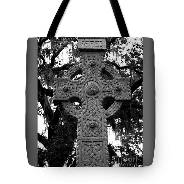 Celtic Cross In Emmet Park Tote Bag by Carol Groenen