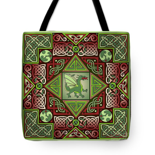 Tote Bag featuring the mixed media Celtic Dragon Labyrinth by Kristen Fox