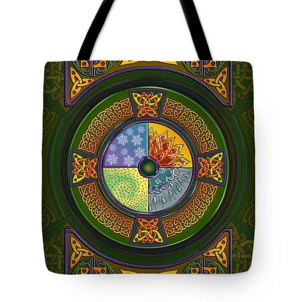 Tote Bag featuring the mixed media Celtic Elements by Kristen Fox